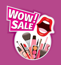 wow sale cosmetics banner for shopping season vector image vector image