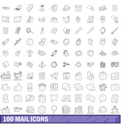 100 mail icons set outline style vector