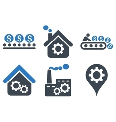 Industrial Production Flat Icons vector image