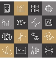 Set of modern thin line icons for math vector