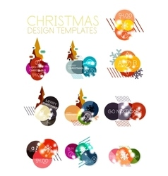 Christmas sale stickers with sample promo text vector