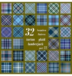 Set of thirty two tartan seamless pattern vector image