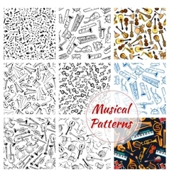 Patterns of musical instruments and music notes vector