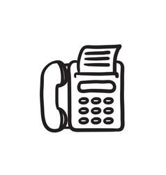 Fax machine sketch icon vector