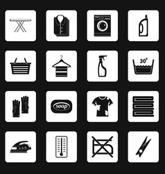 Laundry icons set squares vector