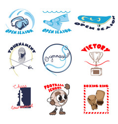 colorful sport doodle logos set vector image