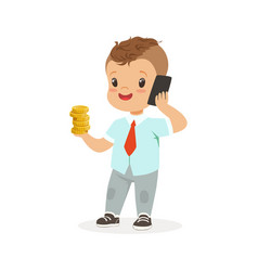 Cute boy businessman talking on smartphone and vector