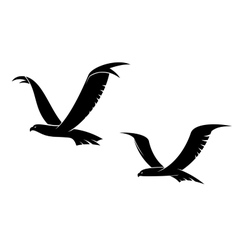 Two flying birds in silhouette vector image