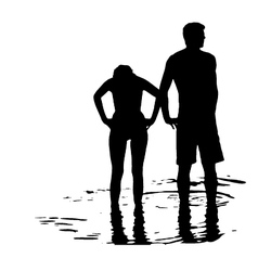 Silhouette of couple in the sea vector