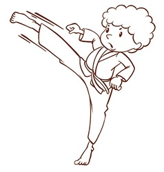 A simple sketch of a boy doing martial arts vector