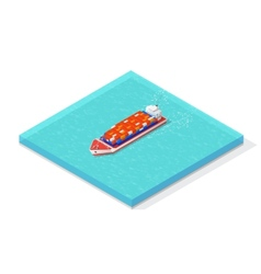 Isometric cargo ship carrying various multi vector