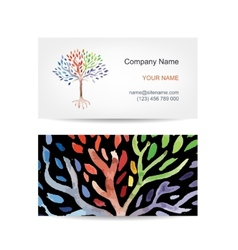 Business card template design art tree vector