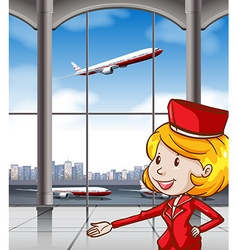 Air hostess at airport vector