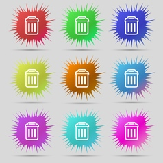 Trash icon sign a set of nine original needle vector