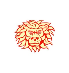 Angry lion big cat head retro vector