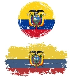 Ecuadorian round and square grunge flags vector