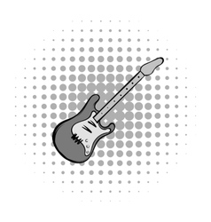 Electric guitar comics icon vector