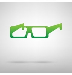 Glasses green icon with shadow vector
