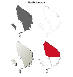 North sumatra blank outline map set vector
