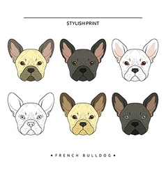 Set goals sketch french bulldog different color vector