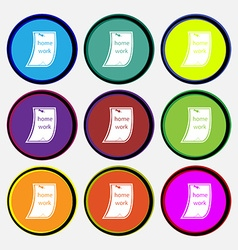 Homework icon sign nine multi colored round vector