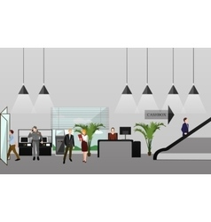 Horizontal banner with bank interiors vector