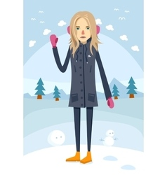 Beautiful girl standing in warm clothes vector