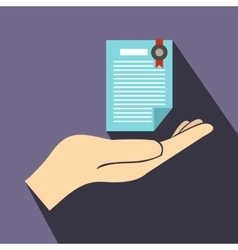 Hand holds insurance certificate icon flat style vector
