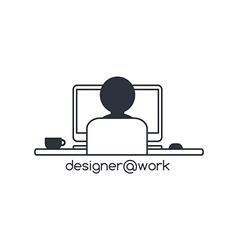 designer programmer computer theme vector image
