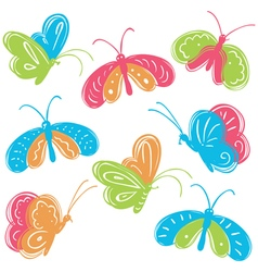 colorful buterfly set vector image