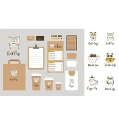 Cafe stationery coffee shop branding mock-up vector