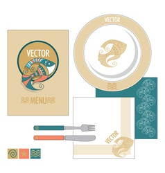 Restaurant set with decorative fish vector