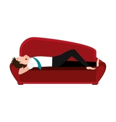 Red couch and avatar man graphic vector