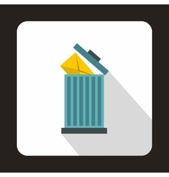 Yellow envelope in trash bin icon flat style vector