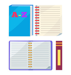abc book or copybook and spiral notebook vector image