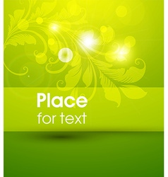 Bright green floral background with text space vector
