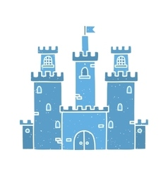 Cartoon castle isolated blue vector