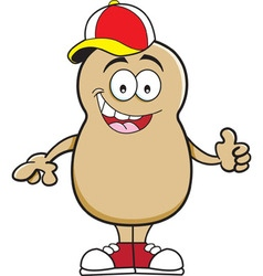 Cartoon potato giving thumbs up vector image vector image