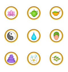 Chinese medicine icons set cartoon style vector