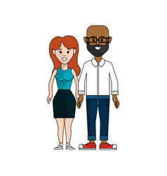 Couple man with glasses and woman with long hair vector