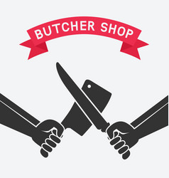 Crossed butcher knives vector