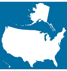 Cutout silhouette map of USA vector image