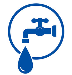 Faucet with water drop vector