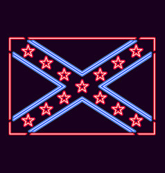 Flag confederate states of america neon sign vector