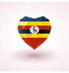 Flag of uganda in shape diamond glass heart vector