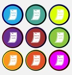 Homework icon sign nine multi colored round vector