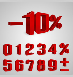 interest rebate set red numbers vector image vector image
