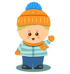 Little cute boy with winter clothes isolated vector