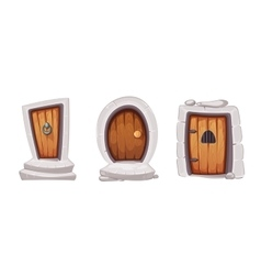 Medieval entrance doors from wood vector