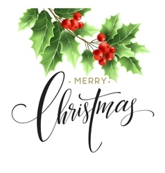 Merry Christmas lettering card with holly vector image vector image
